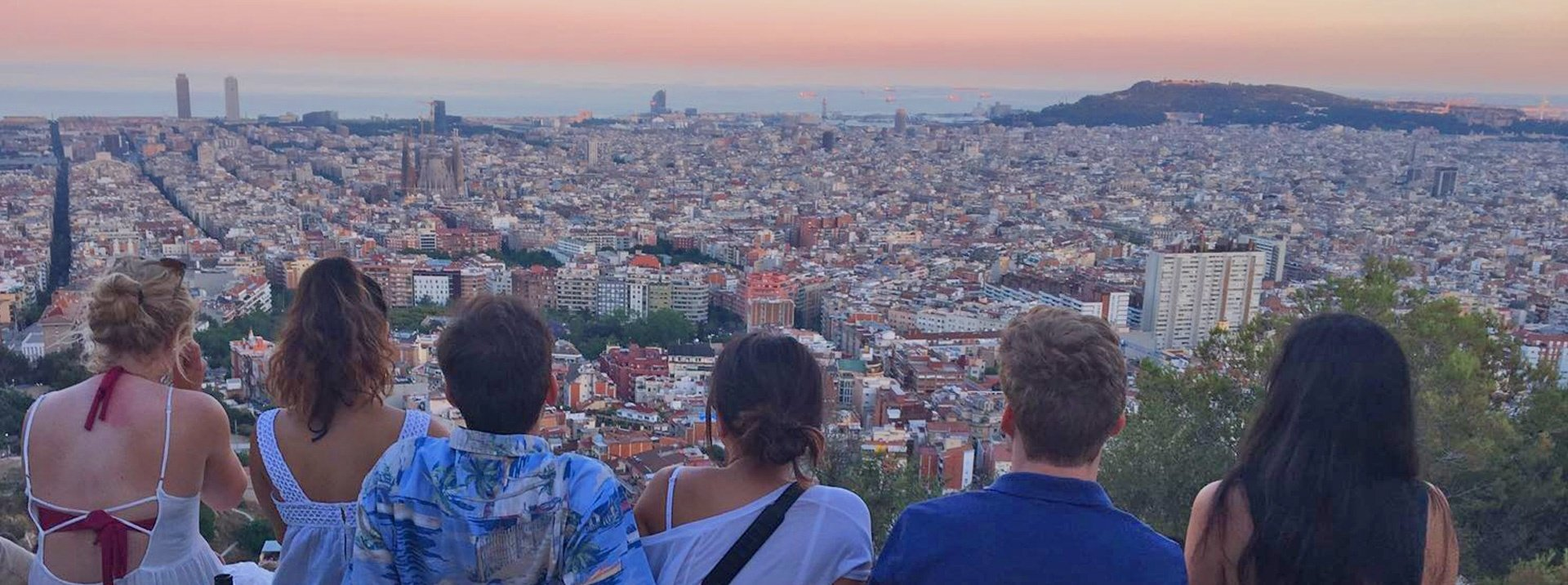 Barcelona interns overlooking sunset