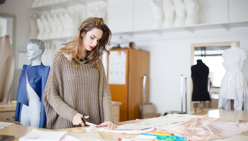 Girl working with fabric