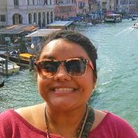Karen G. on a bridge in Milan