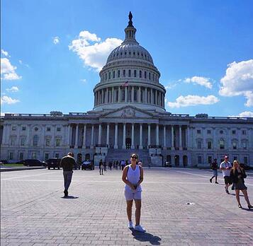 Washington D.C. Government Intern Chiara in front of the capital building