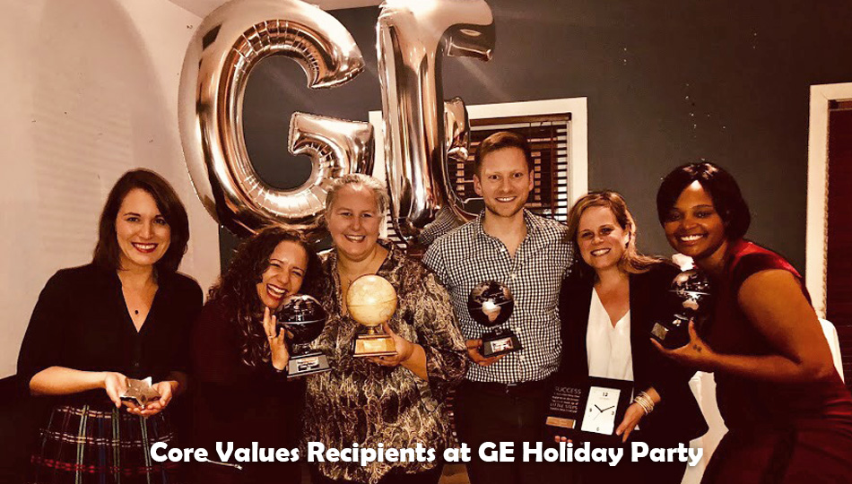 Core Values Recipients at GE Holiday Party