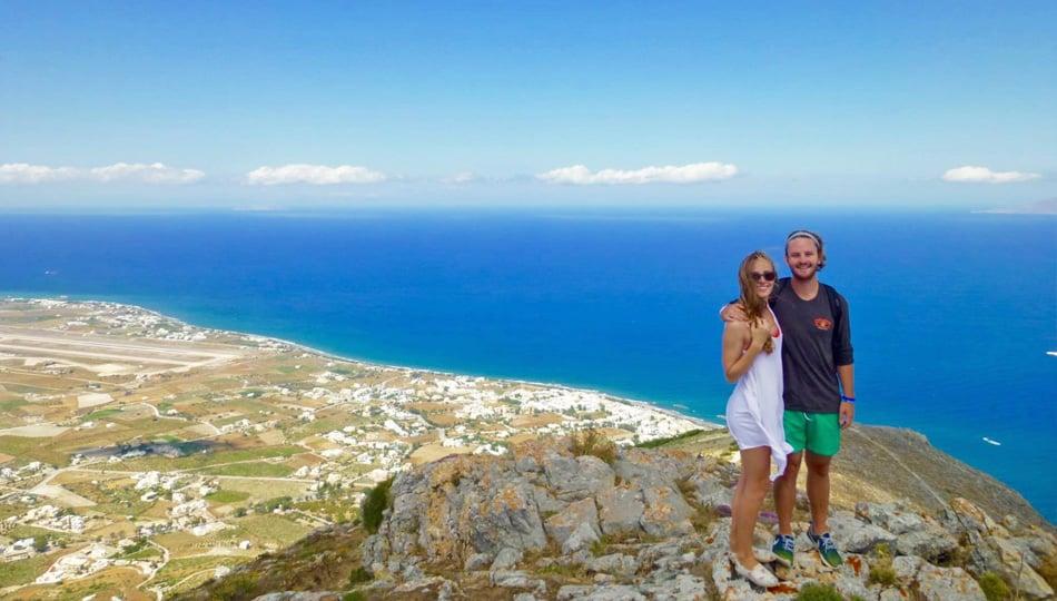 Couple in Santorini Greece