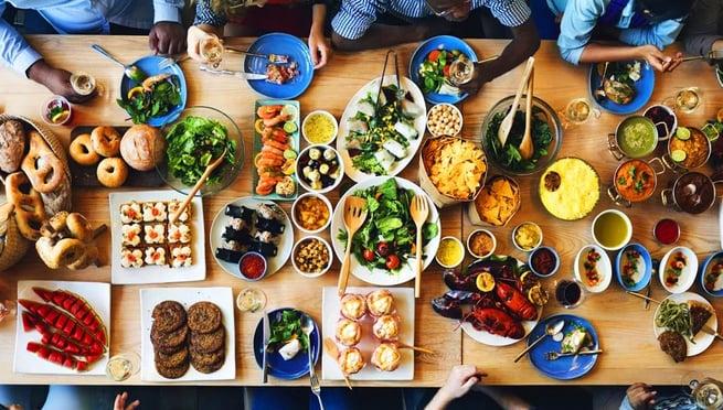 Interns Enjoying Dinner at Restaurant