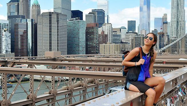 Girl on Brooklyn Bridge