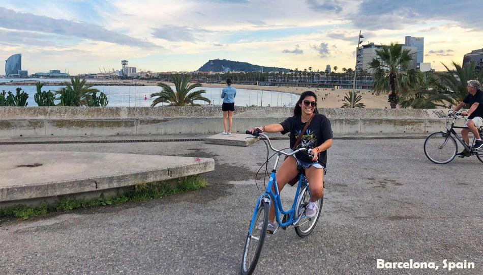 Girl riding bike in Barcelona