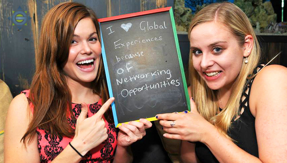 global experiences interns at networking event