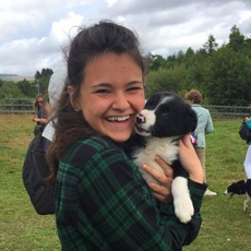 Dublin Theatre Intern with a puppy in Ireland