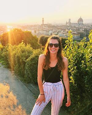 Florence Event Planning Intern Kelly S. overlooking the city