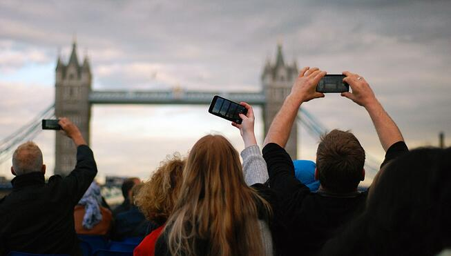 People taking picture of London Bridge