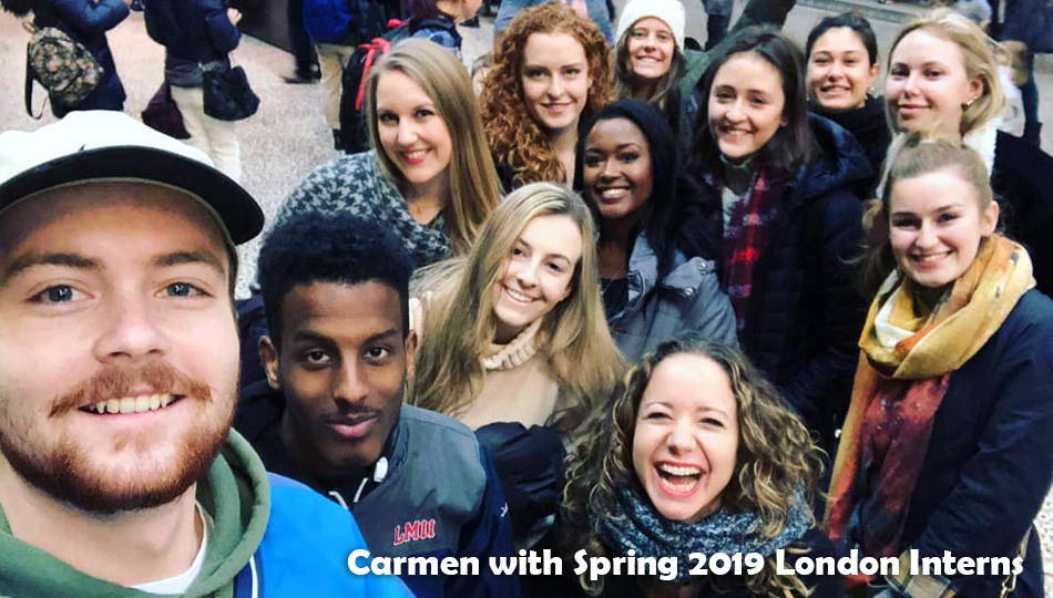 London Location Coordinator Carmen with London Interns