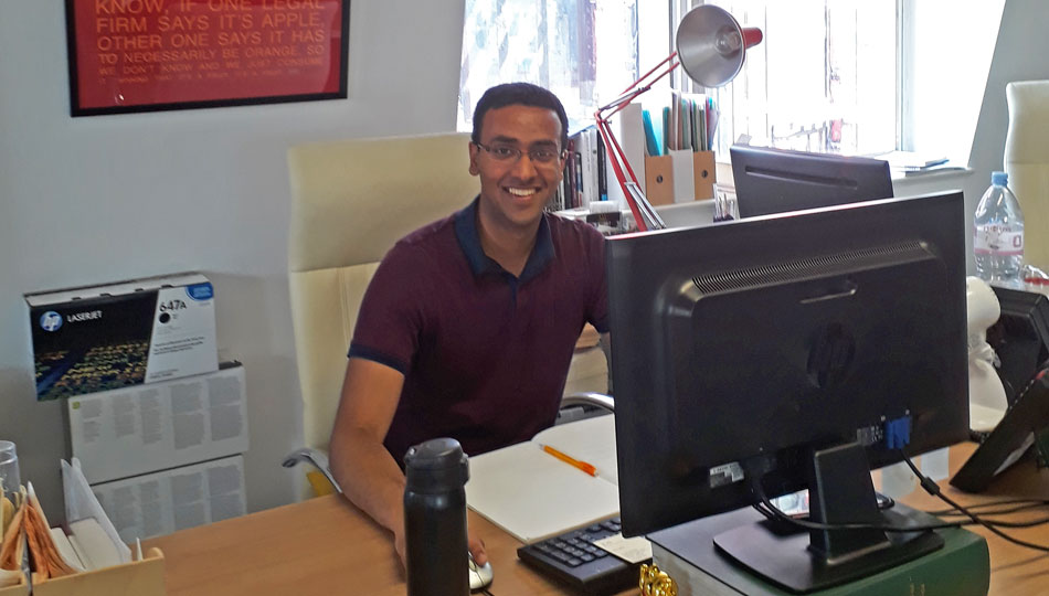 London intern working on computer