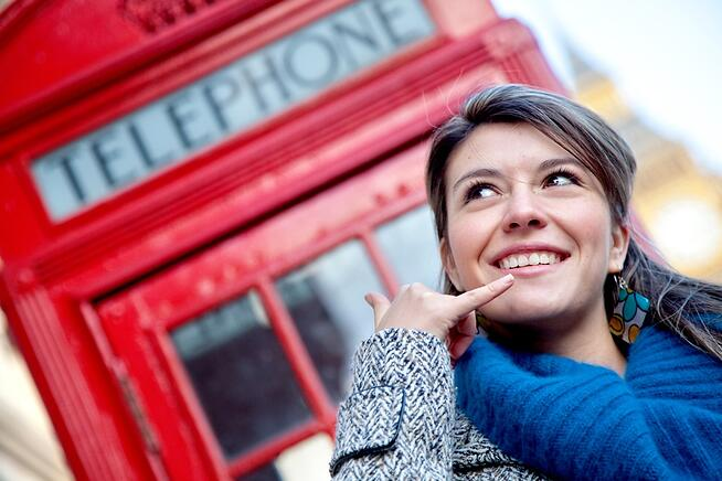 London Phone Booth Woman