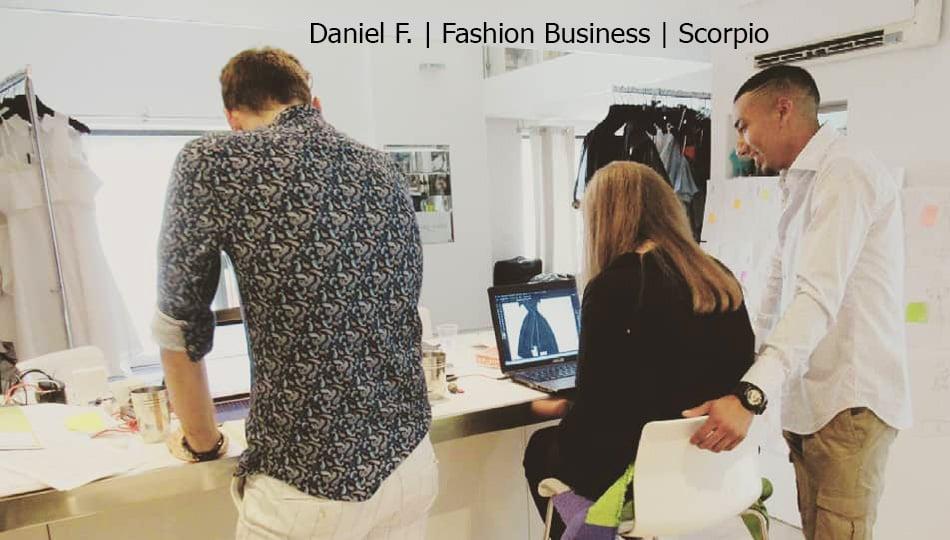 Milan Fashion Business intern designing clothing piece