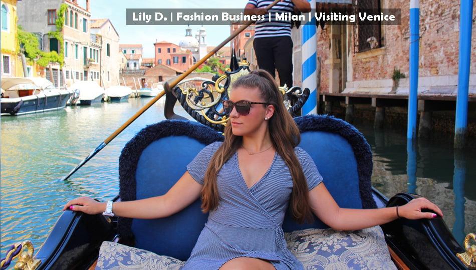 Milan intern on a Goldola ride in Venice