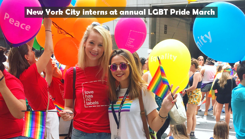 New York City interns at LGBT Pride Parade