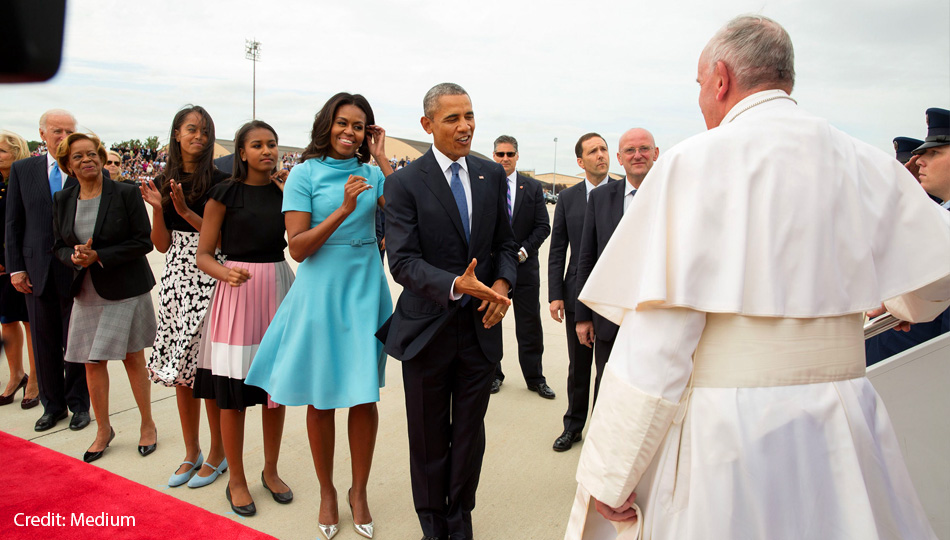 Obama Meeting the Pope with Family