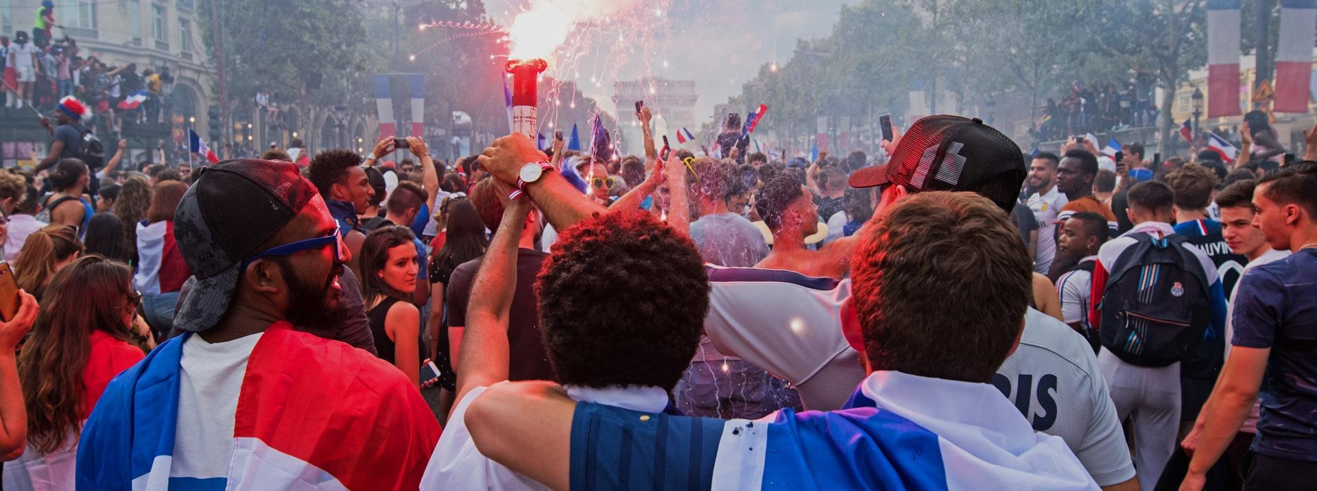 Paris interns celebrating the world cup