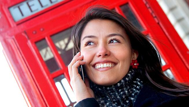 Talking on a phone in London
