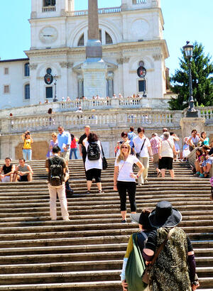 Woman on Rome Spanish Steps