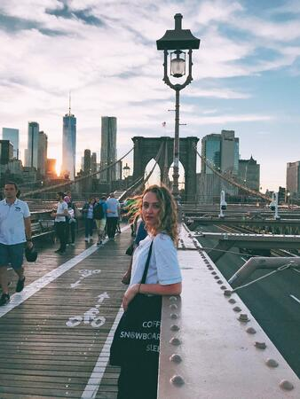 New York City intern Yana at the Brooklyn Bridge