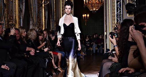 Model walking down the runway during a fashion show