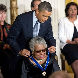 Maya Angelou accepting Medal of Freedom from President Obama