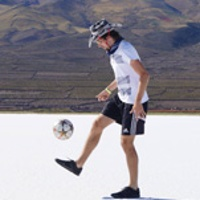 Ian kicking soccer ball